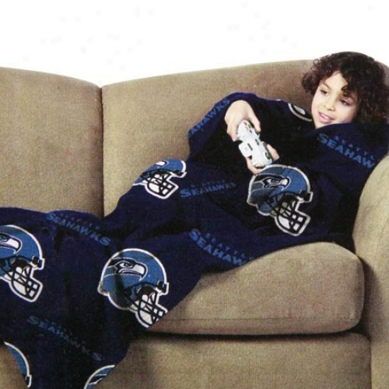 Seattle Seahawks Youth Navy Blue Team Helmet Print Unisex Comfy Throw