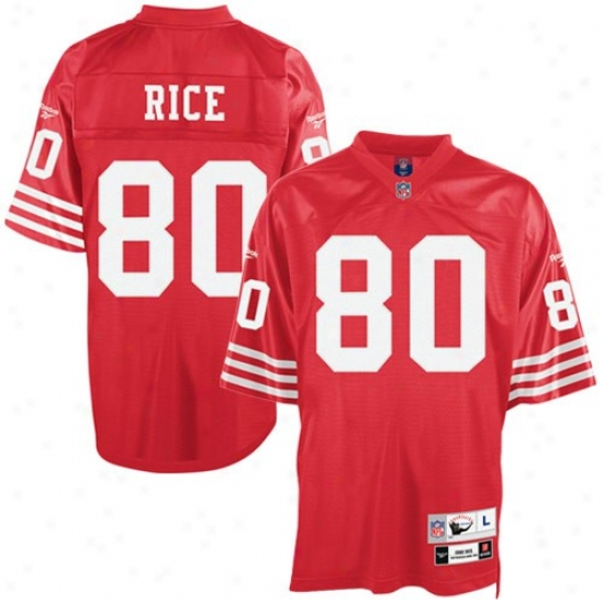 Sf 49er Jersey : Reebok Nfl Euqipment Sf 49er #80 Jerry Rice Red Premiere Tackle Twill Retired Football Jersey