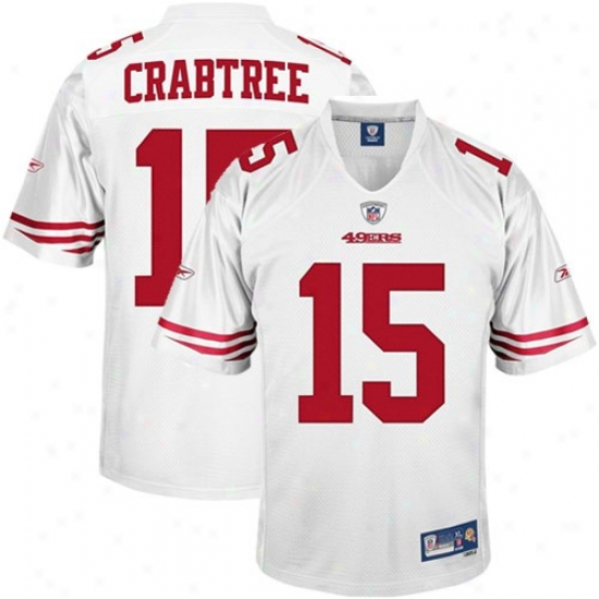 Sf 49r Jerseys : Reebok Micheal Crabtree Sf 49er Premiere Tackle Twill Jerseys - White