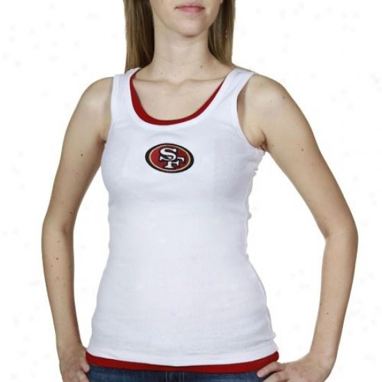 Sf 49er Shirt : Reebok Sf 49er Ladjes White-scarlet Heritage Tank Top