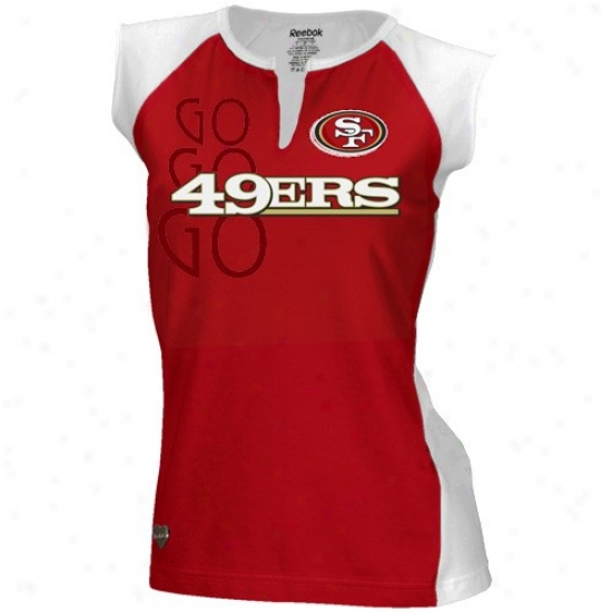 Sf 49er Tee : Reebok Sf 49er Ladies Scarlet-white Two-toned Spit Neck Tee