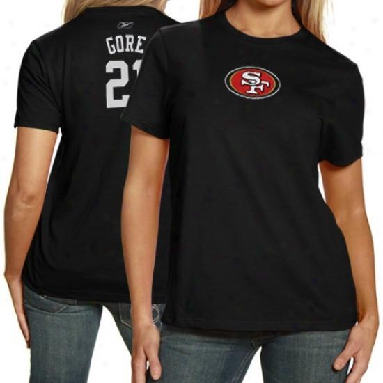 Sf 49er Tshirts : Reebok Sf 49er #21 Frank Gore Ladies Black Net Player Tshirts