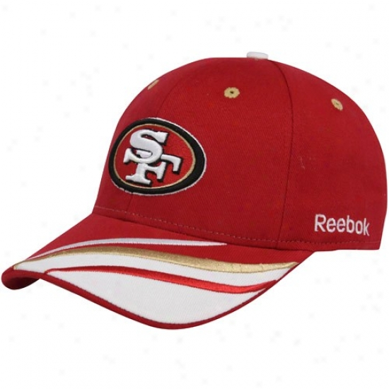 Sf 49ers Hats : Reebok Sf 49ers Cardinal Collage Adjustable Hats