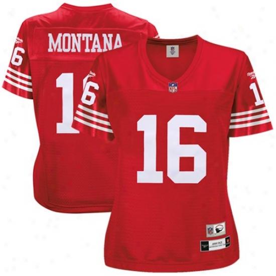 Sf 49ers Jerseys : Reebok Nfl Accoutrement Sf 49ers #16 Joe Montana Ladies Premiere Tackle Twill Retired Football Jerseys - Cardinal