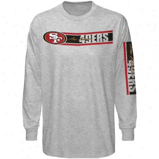 Sf 49ers Tshirts : Reebok Sf 49ers Ash The Stripes A ~ time Sleeve Tshirts