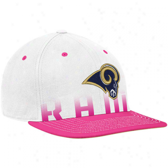 St. Louis Ram Cap : Reebok St. L0uis Drive down White-pink Breasf Cancer Awaeness Flat Brim Flex Cap