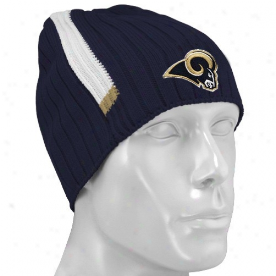St Louis Ram Hat : Reebok St Louis Ram Navy Blue Coaches 2nd Seaspn Knit Beanie