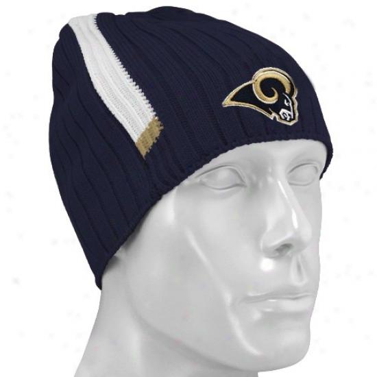 St Louis Ram Hat : Reebok St Louis Ram Navy Blue Coaches 2nd Seaspn Knit Beanie