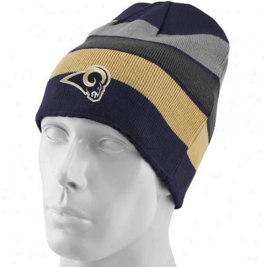 St. Louis Ram Hats : Reebok St. Louis Ram Navy Blue Striped Team Colors Reversible Knit Beanie