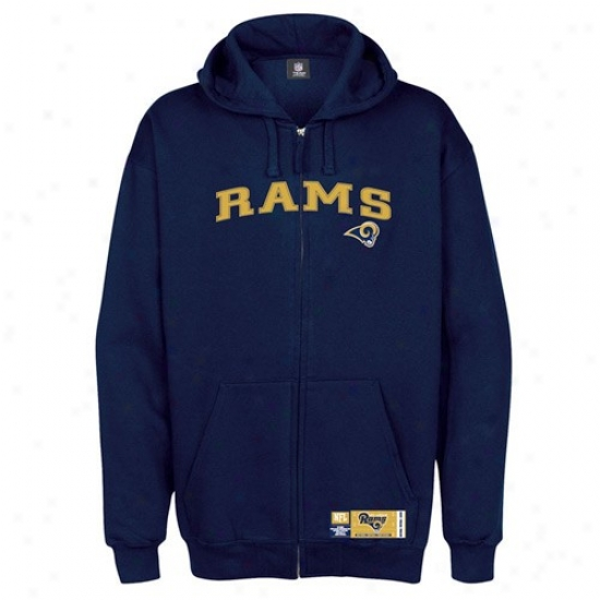 St Louiq Ram Hoodies : St Louis Ram Navy Blue Classic Loud Zip Hoodies