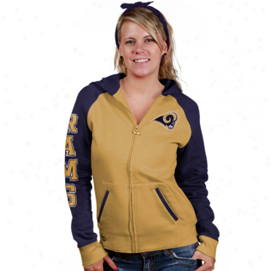 St. Louis Ram Hoodys : Reebok St. Louis Ram Ladies Gold Letterman Full Zip Hoodys