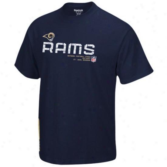 St Louis Ram Shirt : Reebok St Louis Ram Youth Navy Blue Sideline Tacon Shirt