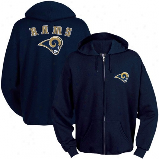 St. Louis Ram Stuff: St. Louis Ram Navy Blue Touchback Full Zip Hoody Sweatshirt