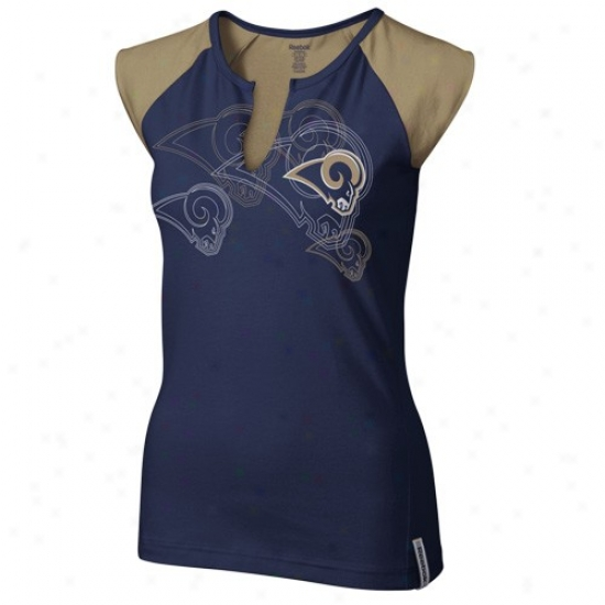 St. Louis Ram T-shirt : Reebok St. Louis Ram Ladies Navy Livid High Pitch Split Neck Premium T-shirt