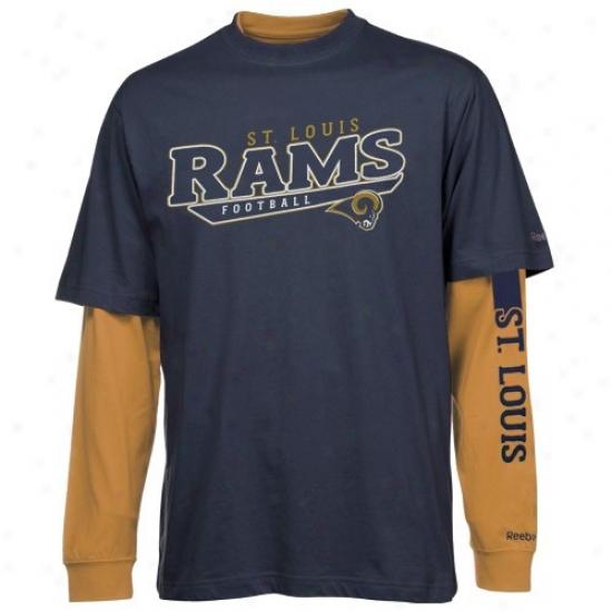 St Lohis Ram T Shirt : Reebok St Louis Ram Navy Blue-gold Option 3-in-1 T Shirt Combo Burden