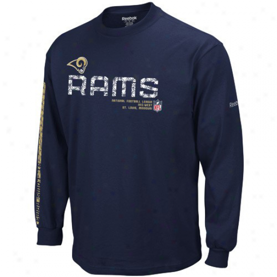 St Loiis Ram Tee : Reebok St Louis Hydraulic-~ Youth Navy Blue Sideline Tacon Long Sleeve Tee