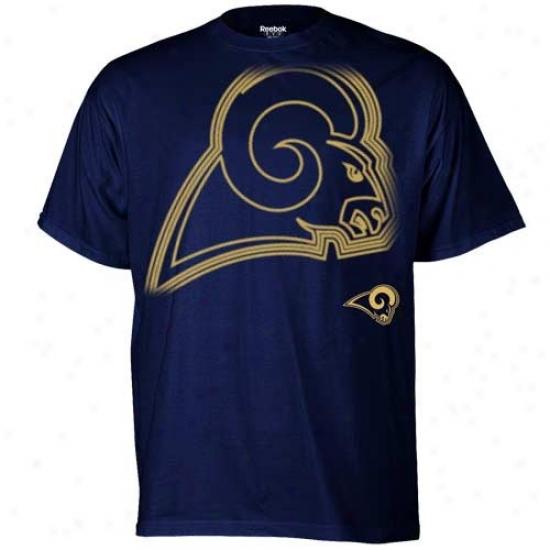 St. Louis Ram Tees : Reebok St. Louis Ram Navy Blue Huge Logo Tees