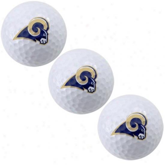 St. Louis Rams 3-pack Of Team Logo Gofl Balls