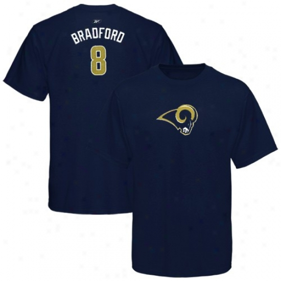 St Louis Rams Attire: Reebok St Louis Rams #8 Sam Bradford Ladies Navy Blue Net Player T-shirt
