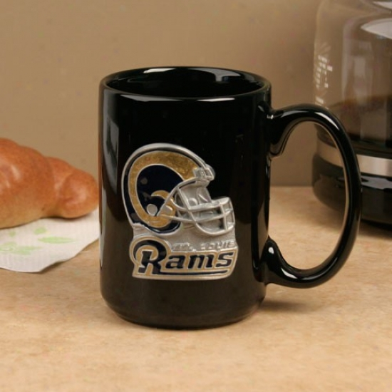 St. Louis Rams Black 15oz. Pewter Helmet Ceramic Mug