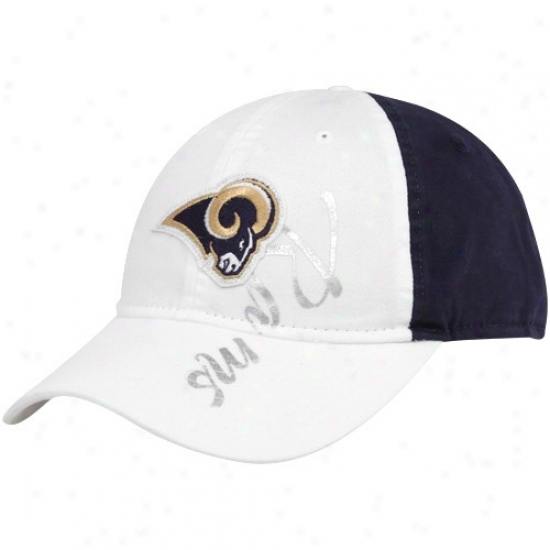 St. Louis Rams Caps : Reebok St. Louis Rams Ladies White-navy Blue Slouch Adjustable Caps