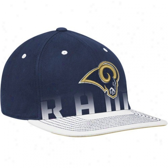 St. Louis Raams Gear: Reebok St. Louis Rams Navy Blue Pro Shape Player Sideline Flex Hat