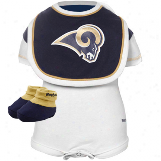 St. Louis Rams Infant White Three Piece Creeler Set