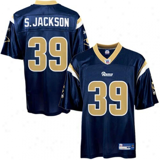 St Louis Rams Jerseys : Reebok Nfl Equipment St Louis Rams #39 Steven Jackson Navy Blue Preschool Replica Football Jerseys