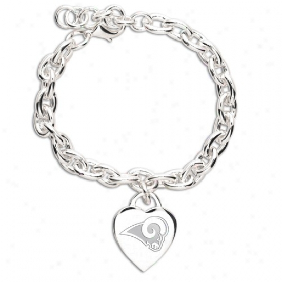 St. Louiw Rams Ladies Silver Heart Charm Bracelet