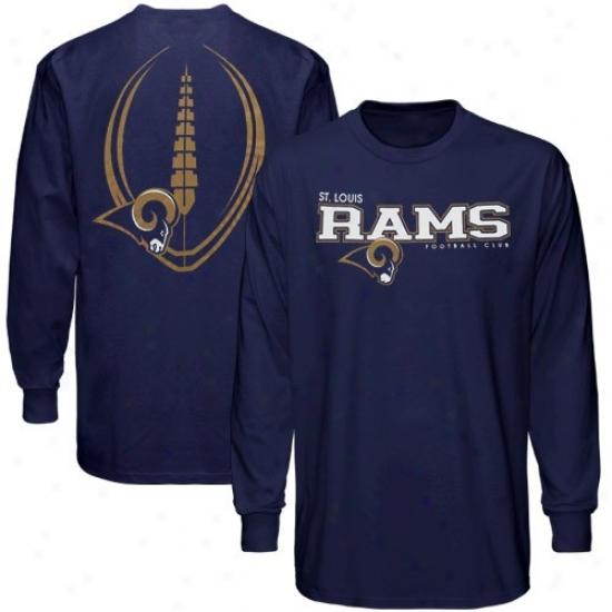 St. Louis Rams Shirt : Reebok St. Louis Rams Navy Blue Ballistic Long Sleeve Shirt