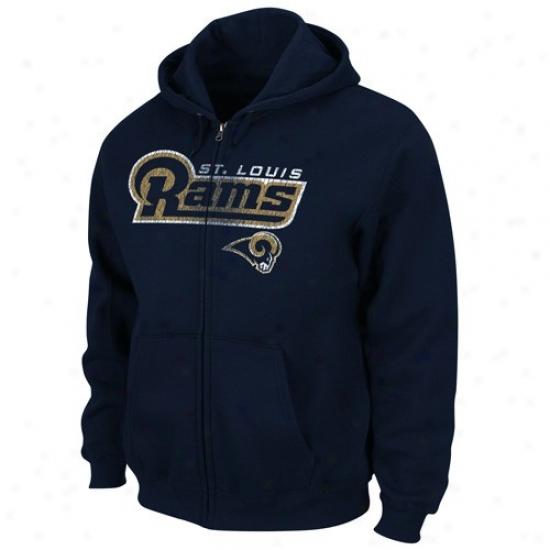 St Louis Rams Sweattshirt : St Louis Rams Navy Blue Touchback Iii Full Zip Sweatshirt