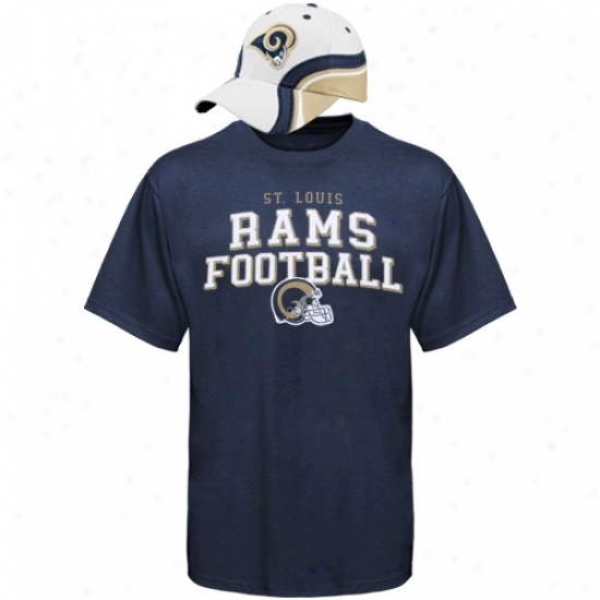 St. Louis Rams T Shirt : Reebok St. Louis Rams Competition Hat & T Shirt Combo Set