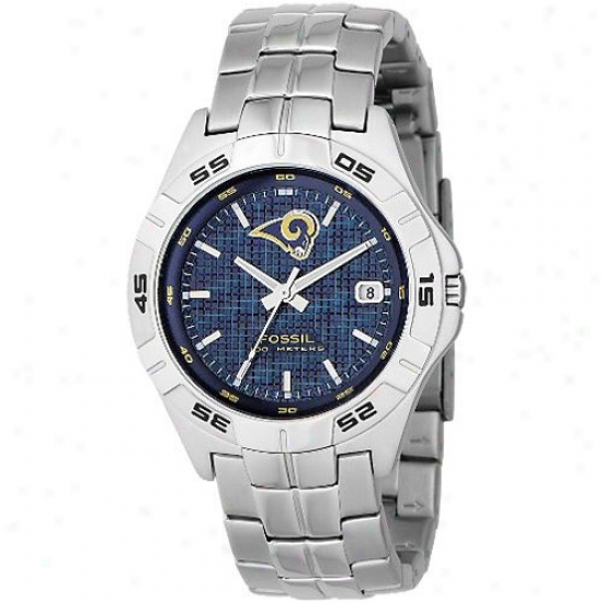 St Louis Rams Watch : Fosil St Louis Rams Men's Stainlees Steel Analog 3 Give  Date Watch