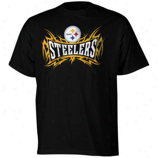 Steeler Attire: Reebok Steeler Black Ohtlast Distrssed Ringspun T-shirt