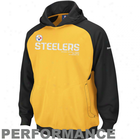 Steeler Fleece : Reebok Steeler Gold-black Sideline Performance Pullover Fleece