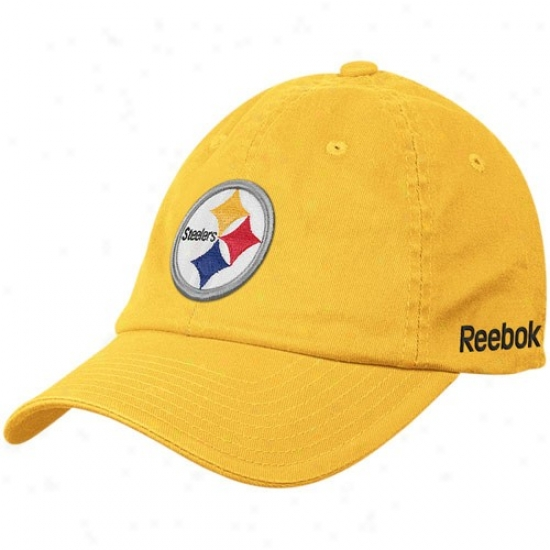 Steeler Gear: Reebok Steeler Gold Sideline Slouch Flex Hat
