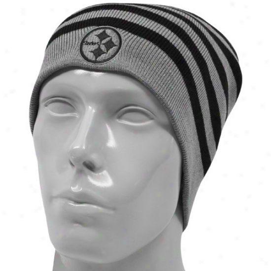 Steeler Hat : Reebok Steeler Black-gray Reversible Knit Beanie