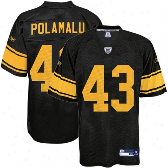 Steeler Jeersey : Reebok Nfl Equipment Steeler #43 Troy Polamalu Black Alternate Replica Football Jersey