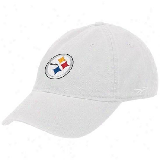 Steeler Merchandise: Reebok Steeler Ladies White Basic Slouch Hat