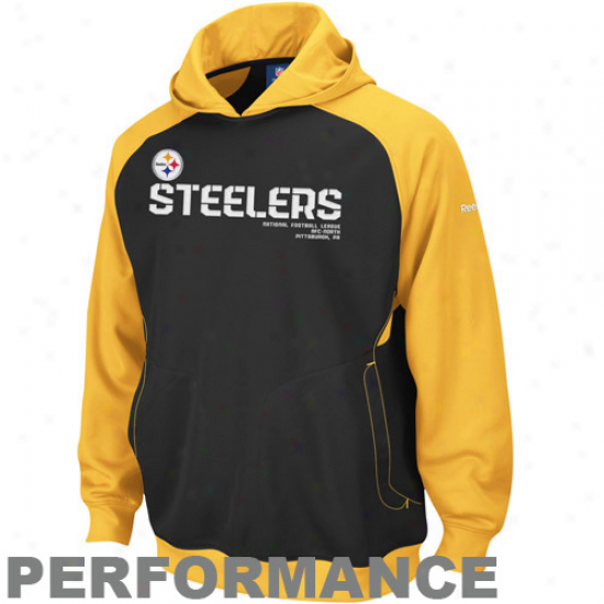 Steeler Sweat Shirts : Reebok Steeler Black-gold Sideline Performance Pullover Sweat Shirts