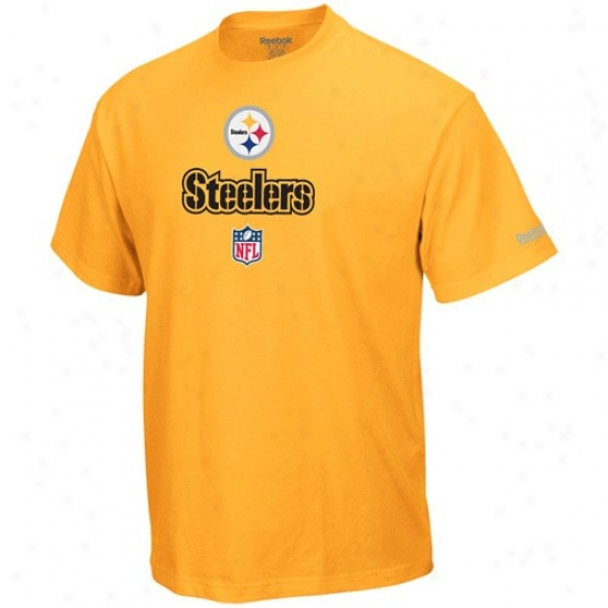 Steeler T-shirrt : Reebok Steeler Gold Team Lockup Sideline T-shirt