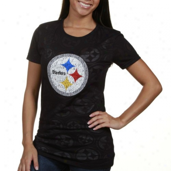 Steeler Tee : Steeler Ladies Black Burnout Premium Tee