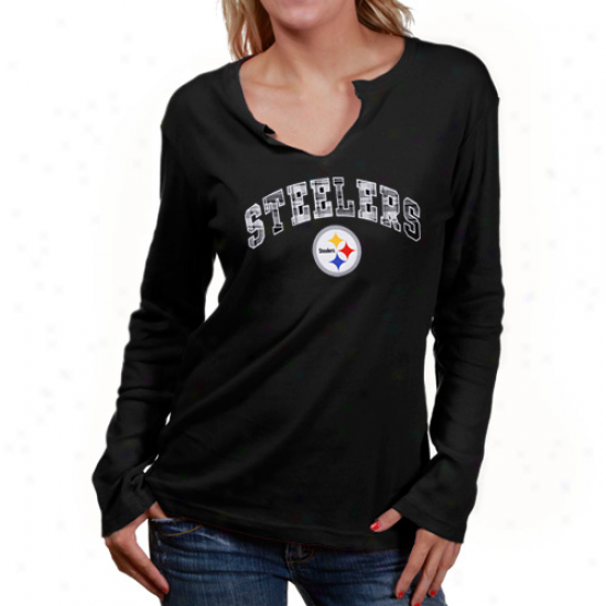 Steeler Tshirt : Reebok Sterler Ladies Black Harmony Long Sleeve Tshirt