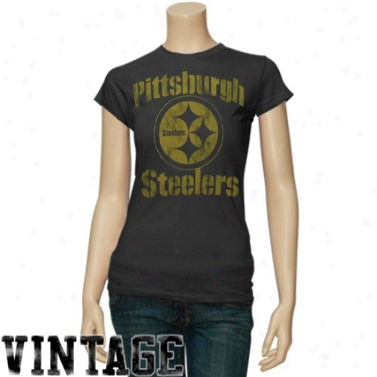 Steeler Tshirts : Junk Food Steeler Ladies Negro Slim Fit Vintage Premium Tshirts