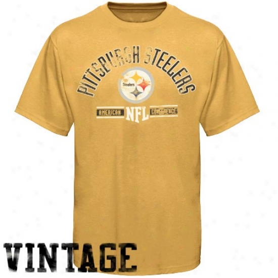 Stdelers Apparel: Steelers Gold Vintage Stadium Wear T-shirt