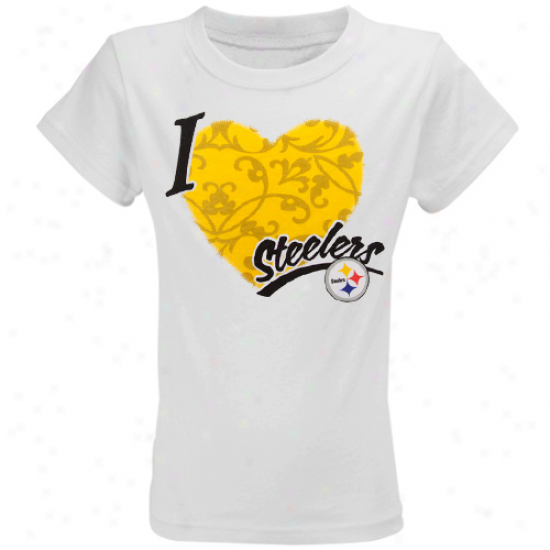 Steelers Attire: Reebok Steelers Youth Girls Of a ~ color I Love This Team T-shirt