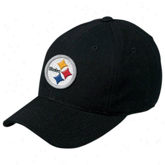 Steelers Hat : Reebok Steelers Black Basic Logo Wool Hat