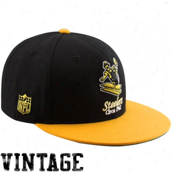 Steelers Hat : Reebok Steelers Black-gold Vintage Fitted Hat