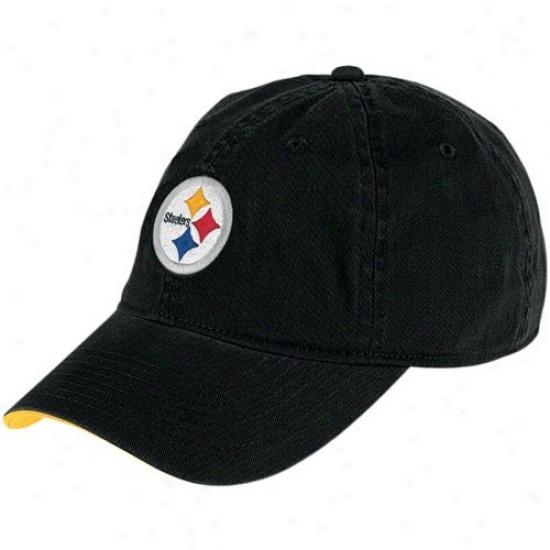 Steelers Hat : Reebok Steelers Black Youth Basic Logo Slouch Haf