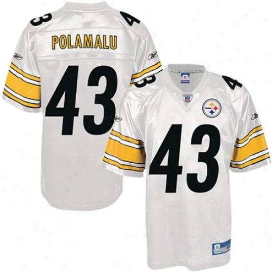 Steelers Jersey : Reebok Steelers #43 Troy Polamalu White Youth Replica Football Jersey